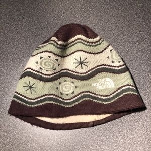 North Face Knit Cap Mint Green Brown small/youth